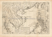 Philippine Islands Antique Map Bonne 1780