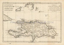 Greater Antilles Islands Antique Map Bonne 1780