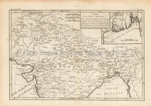 North India Antique Map Bonne 1780