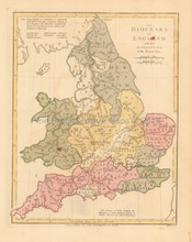 Diocese Of England  Antique Map Wilkinson 1815