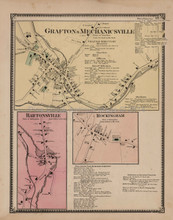 Mechanicsville Bartonsville Vermont Antique Map Beers 1869