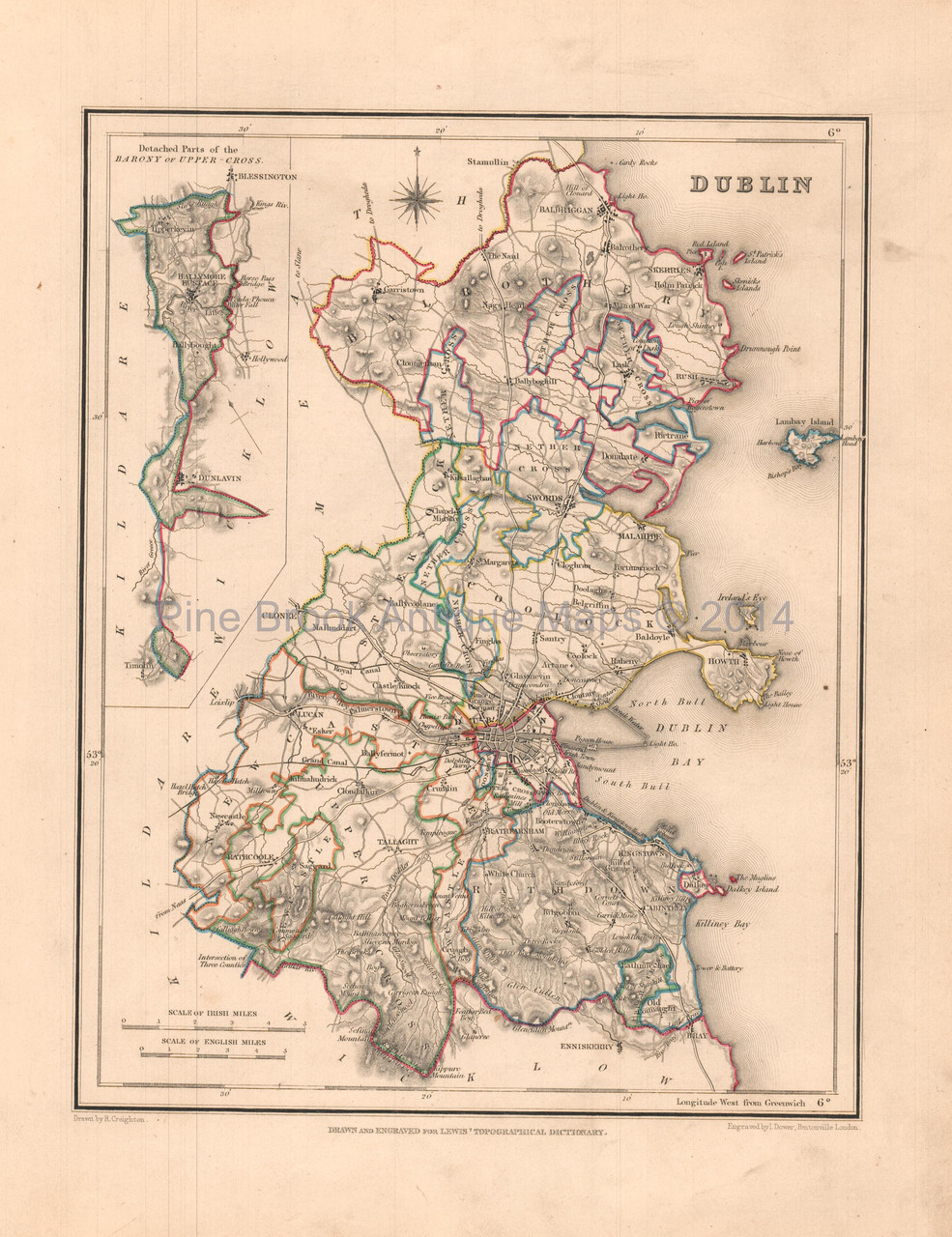 Maps Dublin.Dublin County Ireland Antique Map Lewis 1837