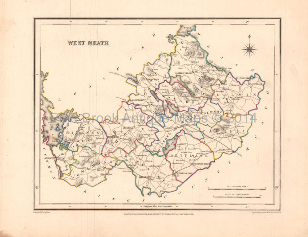 West Meath County Ireland Antique Map Lewis 1837 Pine Brook