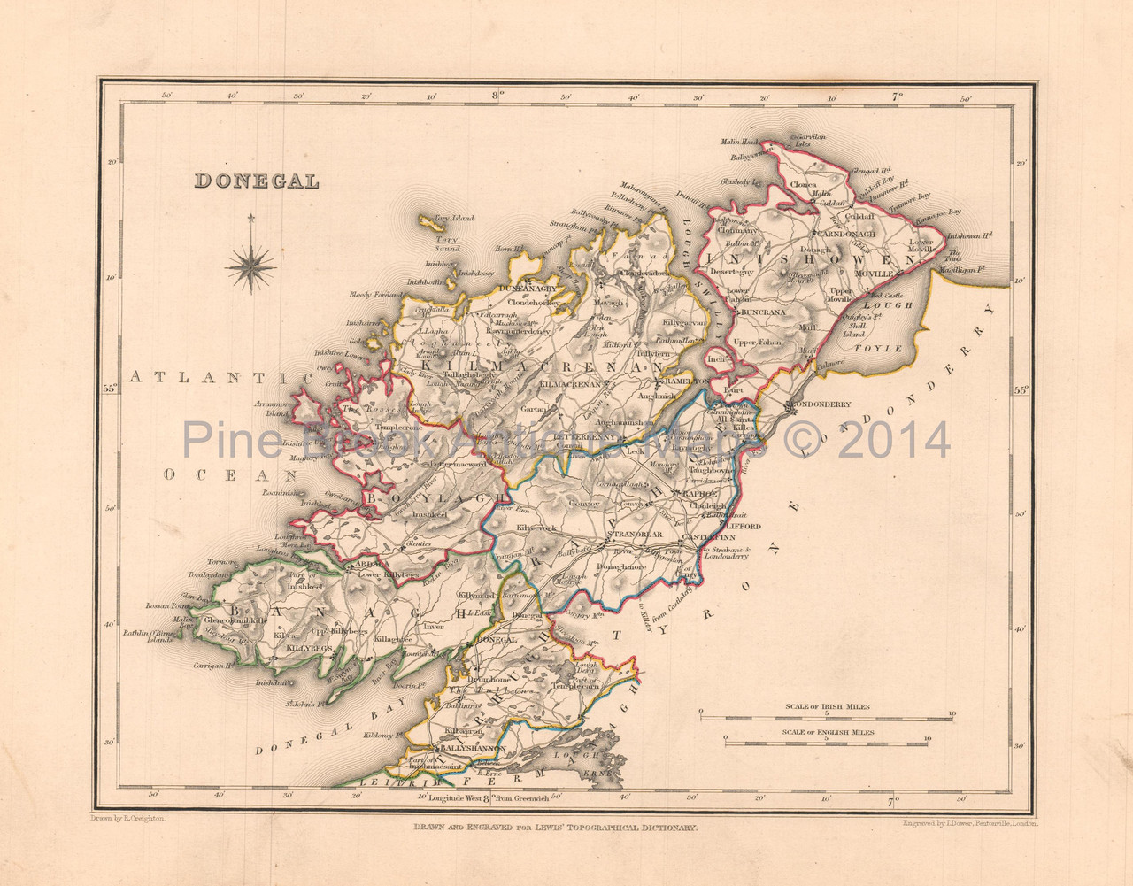 Donegal On Map Of Ireland.Donegal County Ireland Antique Map Lewis 1837