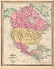 North America Antique Map DeSilver 1855