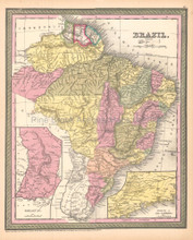 Brazil Antique Map Brazilian Decor History Gift Ideas DeSilver 1855