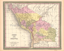Peru Bolivia Antique Map DeSilver 1855