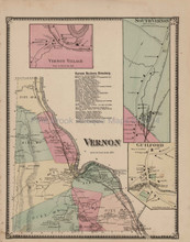 Vernon Vermont Antique Map Beers 1869