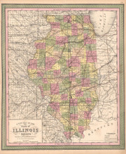 Illinois Antique Map DeSilver 1855