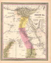 Egypt Nile Antique Map DeSilver 1855