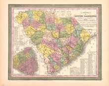 South Carolina Antique Map DeSilver 1855