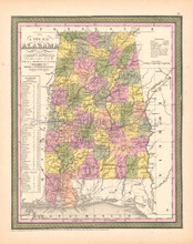 Alabama Antique Map DeSilver 1855