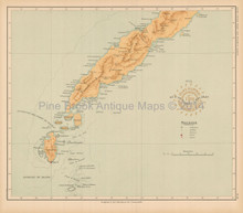 South Palawan Philippine Islands Antique Map Algue 1899