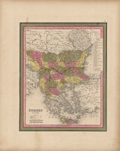 Turkey Europe Balkans Map Antique Mitchell 1847