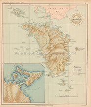 Mindoro Philippine Islands Antique Map Algue 1899