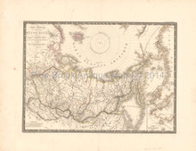 Russia in Asia Antique Map Brue 1821 Original