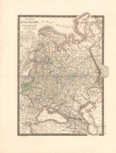 Russia in Europe Antique Map Brue 1826 Original