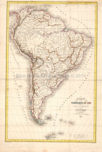 South America Antique Map DuFour 1836