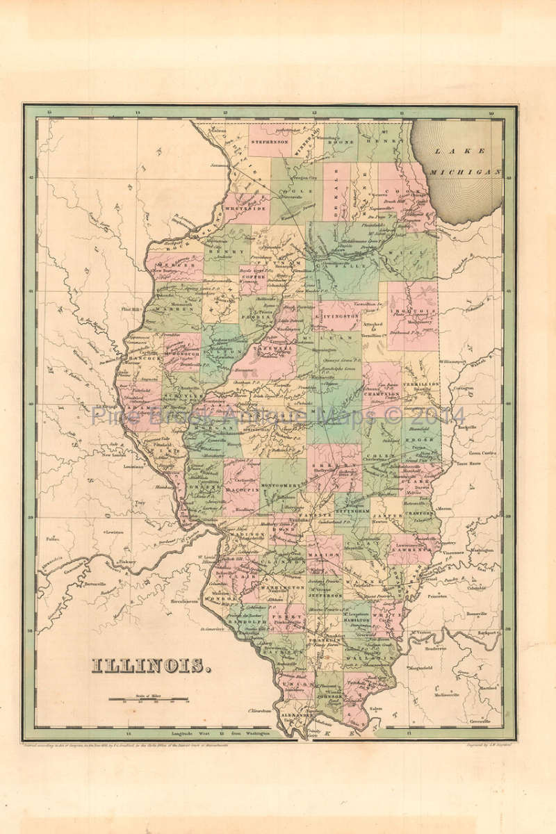 Illinois Antique Map Bradford 1842