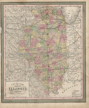 Illinois State Map Antique DeSilver Cowperthwait 1855