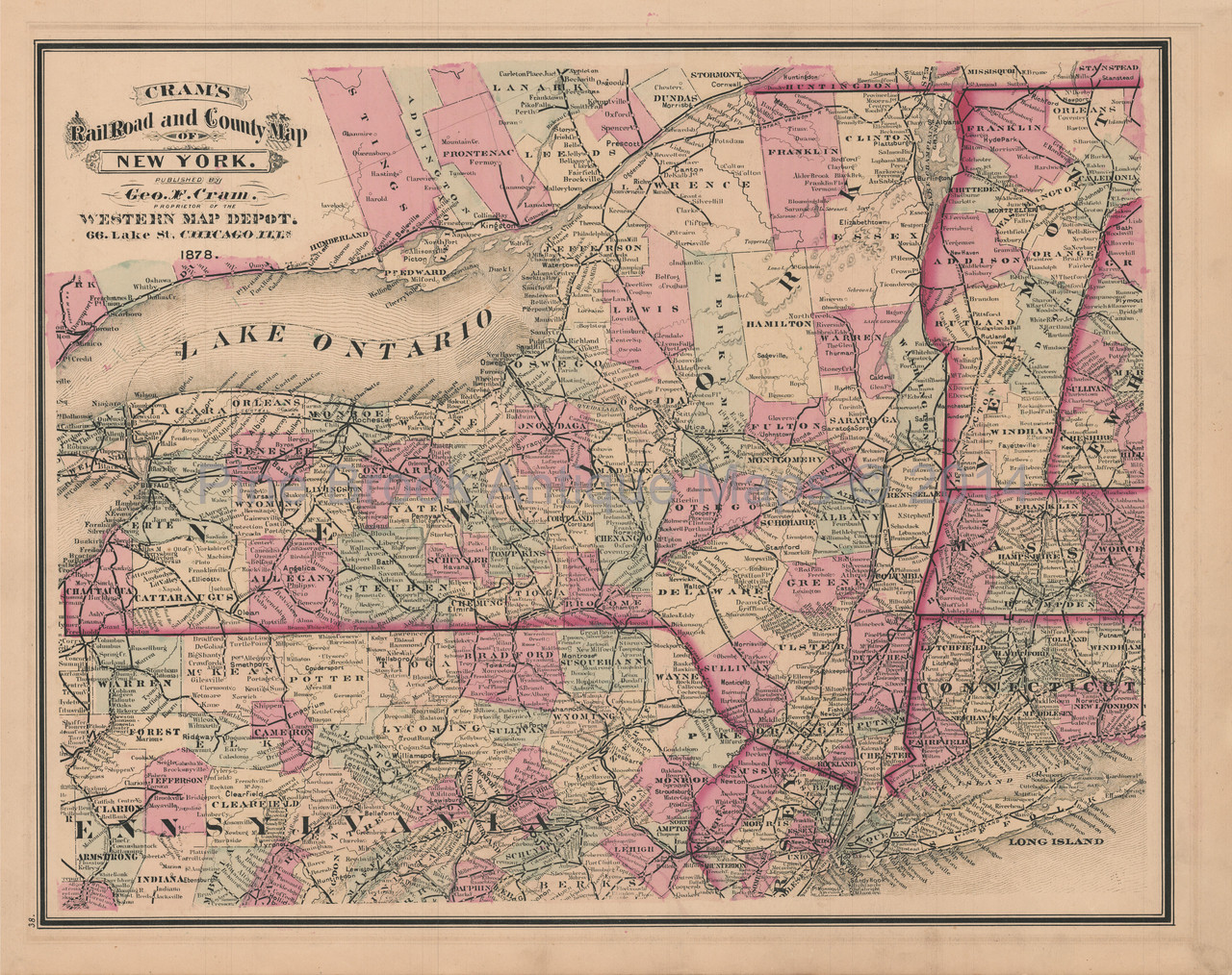 Map Of New York In 1800.New York Pennsylvania Railroad Antique Map Cram 1878