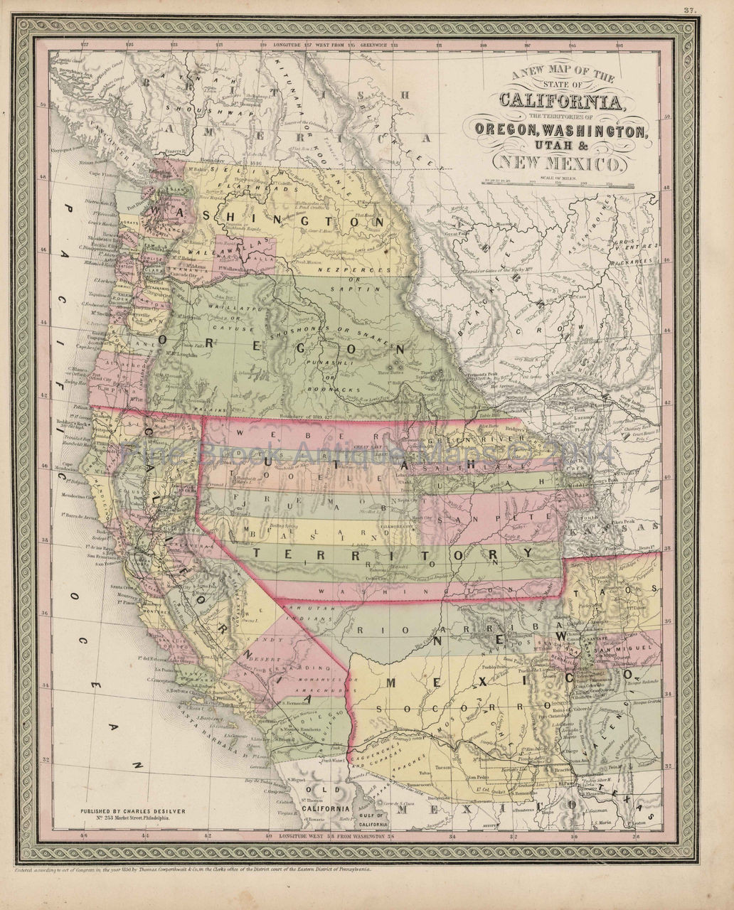 Map Of California To Oregon.California Oregon Territory Map Antique Desilver Cowperthwait 1855