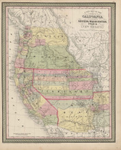 California Oregon Territory Map Antique DeSilver Cowperthwait 1855