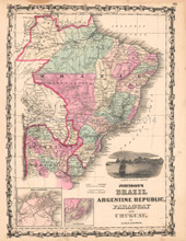 Brazil Argentine Republic Antique Map Brazilian Decor Gift Ideas AJ Johnson 1862