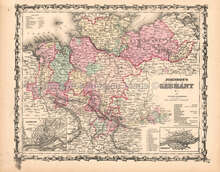 Germany No. 1 Antique Map AJ Johnson 1862