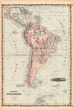 South America Antique Map AJ Johnson 1862