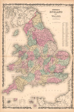 England Wales Antique Map AJ Johnson 1862