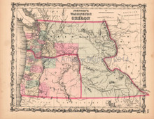 Washington Oregon Antique Map AJ Johnson 1862
