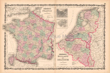France Holland Antique Map AJ Johnson 1862