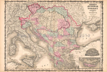 Austria Turkey Antique Map AJ Johnson 1862