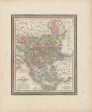 Turkey Balkans Map Antique DeSilver Cowperthwait 1855