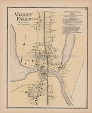 Valley Falls Rhode Island Antique Map Beers 1870