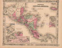 Central America Antique Map AJ Johnson 1864