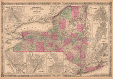 New York State Antique Map AJ Johnson 1864