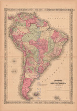 South America Antique Map AJ Johnson 1864