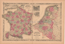 France Holland Belgium Antique Map AJ Johnson 1864
