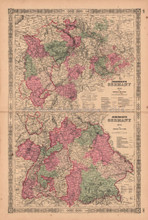 Germany No. 2 & 3 Antique Map AJ Johnson 1864