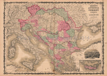Austria Turkey in Europe Greece Antique Map AJ Johnson 1864