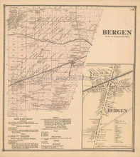 Bergen New York Antique Map Beers 1866