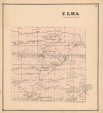 Elba New York Antique Map Beers 1866