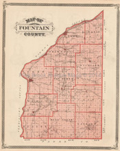 Fountain County Indiana Antique Map Baskin 1876
