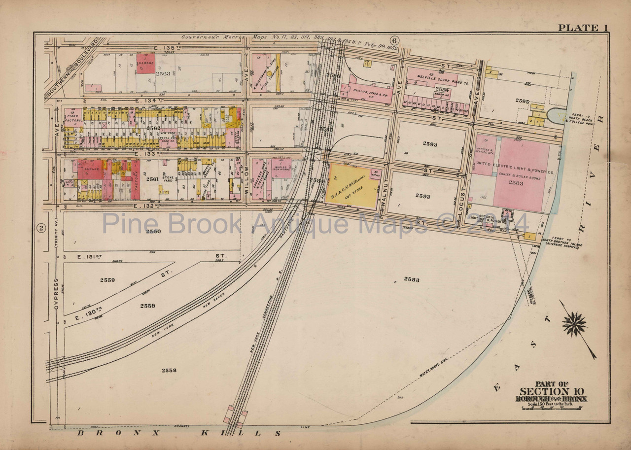 Map Of New York Bronx.Bronx Locust Ave Mott Haven Antique Map New York City Bromley 1921