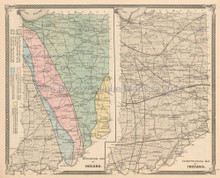 Geological Climate Indiana Antique Map Baskin 1876