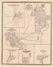 Auburn Monroeville Fulton County Indiana Antique Map Baskin 1876