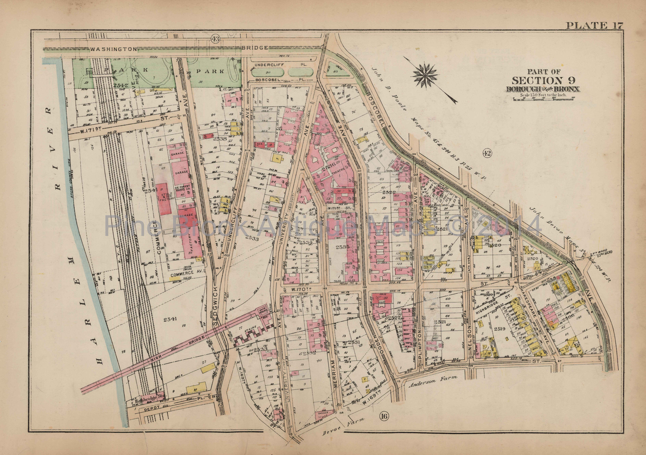 Bronx Concourse Jerome Ave  Antique Map New York City Bromley 1921