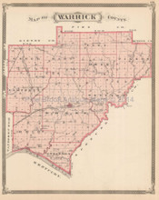 Warrick Spencer County Indiana Antique Map Baskin 1876